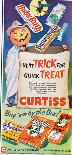 Marvelous fun ad from 1954 for Curtiss brand Halloween candy (love Butterfingers!!!). #ad #vintage #Halloween #candy #1950s #fifties #food