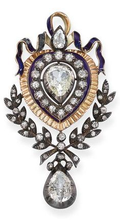 An Antique Diamond and Enamel Brooch  Set with a central pear-shaped diamond within an old-cut diamond, blue enamel and textured gold surround to the blue enamel ribbon surmount and old-cut diamond foliate trim suspending an articulated pear-shaped diamond pendant, mounted in silver and gold, circa 1890, 8.0 cm long