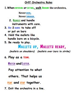 Rules for the Orff Orchestra in Your Classroom.
