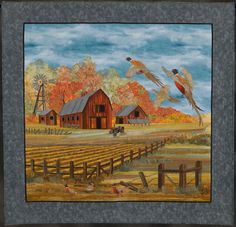 barn scene, landscap quilt, quilt maison, countri quilt, joann baeth