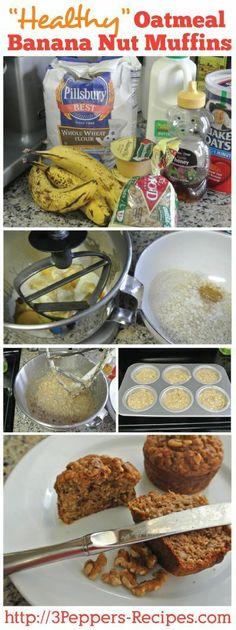 Healthy Oatmeal Banana Nut Muffins #healthy #recipe #banana