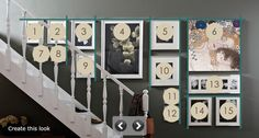 ikea frames.  use template upside down on the stair wall downstairs