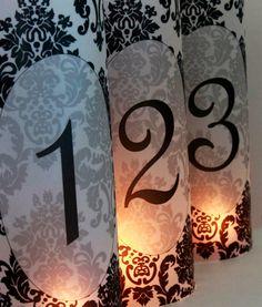 Damask Wedding Decor, Black & White Wedding Decor, Damask Luminary Table Numbers, Wedding Centerpieces, Party Decor. $1.75, via Etsy.