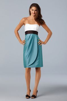 Strapless taffeta bridesmaid dress with natural waist
