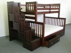 Staircase bunk bed. Would be SO perfect for the girls room. $945.. price isnt tooooo bad. Ive seen higher. Love all the storage on it! There's also an option for a trundle bed.
