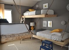 Three Boys, One Room. | Suspended beds inspired by Ana White's hanging daybed at ana-white.com/2010/08/easiest-hanging-daybed.html | Make Your Own link | Bumper Crop