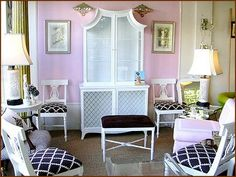 pink with black and white fabric.  hollywood regency feel. living room.