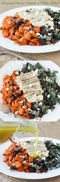 The perfect Winter & Fall Salad! Roasted Sweet Potatoes Kale Salad with an easy champagne vinaigrette. ~American Heritage Cooking #salad #sweetpotato #kale #cherries #feta #champagnevinaigrette