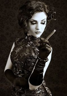 Woman w/Cigar - Black and White
