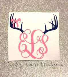 Monogrammed Antlers w/ Bow Decal by CraftyCuteDesignsNC on Etsy, $6.00