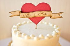 Wedding Cake Topper - Woodland Heart in Party Pink - Customized. $59.00, via Etsy.