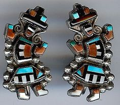 """VINTAGE ZUNI INDIAN STERLING SILVER INLAID TURQUOISE CORAL RAINBOW MAN EARRINGS $245.00  Gorgeous pair of vintage Zuni Indian sterling silver inlaid turquoise, coral, onyx, and mother of pearl finely detailed rainbow man screw back earrings measure approximately 1-1/4"""" by 11/16"""". Weigh 8.2 grams."""