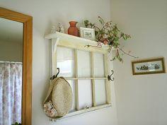 diy ideas, decor, old window frames, project, craft, hooks, shelves, old windows, hous