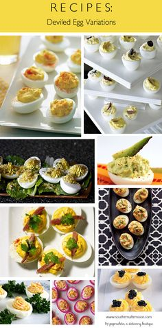 Deviled Egg Variations pinboard from our blog, Southern Afternoon.com.  I'm kind of obsessed with the Pimento Cheese eggs and the Caesar Salad eggs.