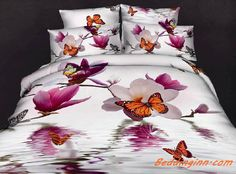 #butterfly #flower #beddingset  Beautiful Butterflies and Flowers 4-Piece Bedding Sets Buy link-->http://goo.gl/HQDwmA Discover more-->http://goo.gl/owVEjo Live a better life,start with @beddinginn