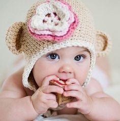 Touca de crochet para bebês - creme I R$34.00