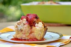 French Toast casserole...I did these individual baked in a cupcake pan...yum!