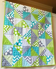 modern quilt - Half Moon Modern fabric in aqua, lime and grey.  Made by Ashli Smick