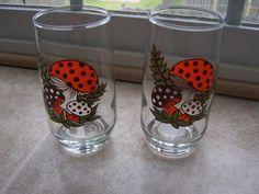 Merry Mushrooms Glasses Sears Roebuck Set of 2 by StrawberrieSoup