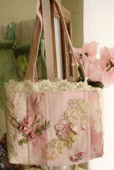 Fabric bag, ribbon roses, lace applique and edging - pretty!  ********************************************   Just Lilla - #ribbonwork #handbag hh Purse, Handbags, Handmade Bags, Shabby Chic, Totes Bags, Pink Rose, Roses Garden, Embroidery, Crafts