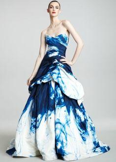 Strapless Ink-Print Ballgown by Monique Lhuillier #Dress #Evening_Gown #Monique_Lhuillier