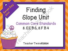 Slope Unit from Teacher Twins on TeachersNotebook.com -  (137 pages)  - This is a 7 day unit on Finding Slope. Common Core Standards 8.EE.B.6, 8.F.B.4 Each day has a PowerPoint that includes a warm up with answers, notes, and a closure of the lesson. Guided notes or foldables are provided for each lesson as well as an activit