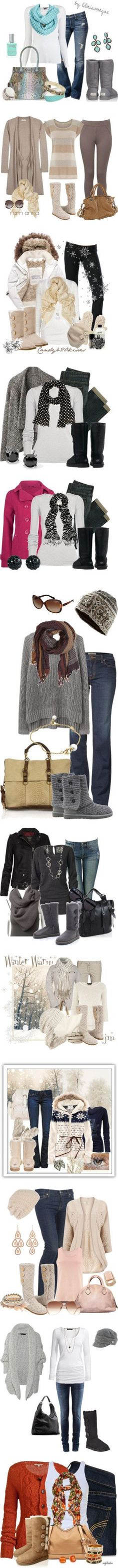 These are great winter outfits featuring many different styles of UGG Boots! So cute!