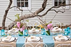 Lovely use of Vintage Blue Mason jars for outdoor spring celebrations!
