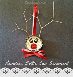 Bottle Cap Reindeer Christmas Craft For Kids (Cute Ornament Idea!) #Recycled #Cute #Cheap art project | SassyDealz.com
