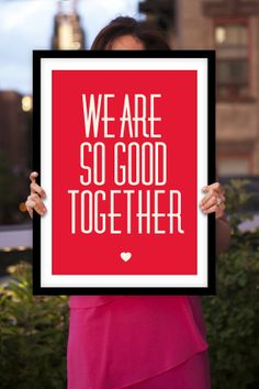 """Typography Print Poster Art """"We Are So Good Together"""" Valentine Wall Art Decor Subway Art Inspirational Quote Typographic Design"""