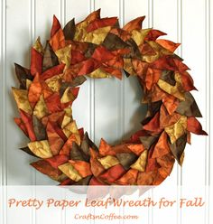 I love the fall colors and textures on this wreath. It's made from cardstock that's been soaked in water and inked. Really lovely!