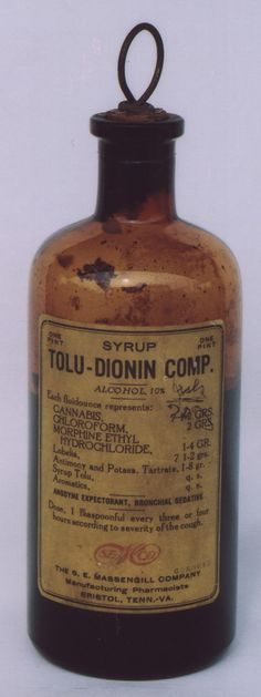 Cough syrup with cannabis, chloroform and morphine to boot.