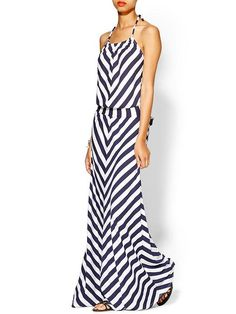 Piperlime | Exclusive Stripe Halter Maxi Dress