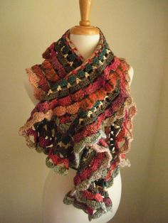 Colorful crochet scarf.