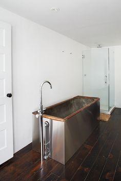 Old-fashioned soaking tub.