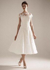 Cap Sleeve Wedding Dress with Illusion Neckline, Style CMK513 from David's Bridal
