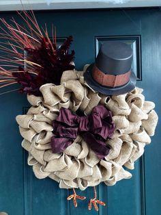 Burlap Turkey Thanksgiving Wreath