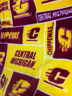 Central Michigan University (CMU) dorm bed fleece fitted sheets and pillow case.  Also available for twin bed.  Go CHIPS on Etsy, $60.00