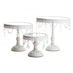 Jeweled White Round Cake Stands