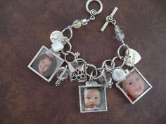 Photo keepsake gift for mom and grandma.  6 color photos with white and silver accents.   by MimiandMoi, $110.00