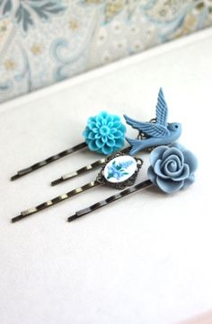 Shabby Blue Flower Bobby Pins Floral Hair Accessories