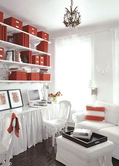 Turn the corner of a living room into a home office with shelves and a desktop. Choose boxes, binders, files, and accessories in one color to create a unified look. Hide a printer and other supplies behind a fabric skirt.