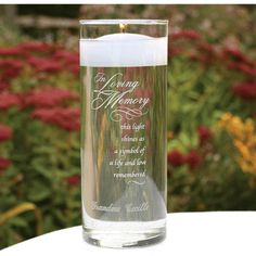 Wedding decorations In Loving Memory glass cylinder.