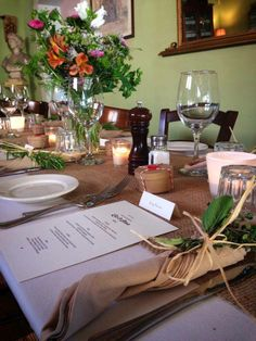 Wedding table setting at Osteria la Civetta in Falmouth, Cape Cod.
