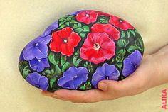 Hand+painted+rock.+Petunias+1