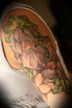 Flower half sleeve by Amanda Leadman at Smart Bomb Tattoo in Dayton, OH.