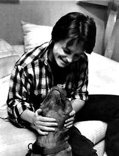 Michael J. Fox and his pit bull! I love them both. Adorable. fox, pit bull