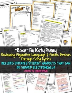 """Practicing Figurative Language & Poetic Devices with """"Roar"""" song lyrics by Katy Perry"""