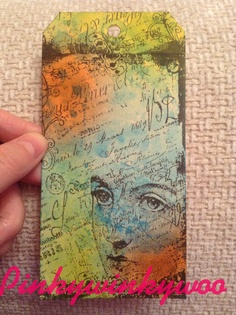 Tag. This one only part done yet. Tim holtz distress inks and Inkylicious stamp.