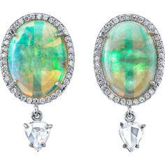 Irene Neuwirth Crystal Opal & Rose Cut Diamond Drop Earrings